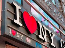 I love New York sign merchandise shop sign in Manhattan. New York City, USA - Apr 2018: I love New York sign merchandise shop sign in Manhattan Stock Photo