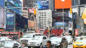 Traffic at time square in Manhattan. New York City, USA - Apr 2018: traffic at time square in Manhattan stock video footage