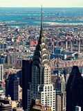 Aerial view of manhattan chrysler skyscraper new york USA or america. New York City, USA - April 2018: aerial view of manhattan chrysler skyscraper new york royalty free stock photo