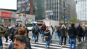 Crowd of people walking and crossing road in Manhattan midtown. New York City, USA - 2018 April: Crowd of people walking and crossing road in Manhattan midtown stock video footage