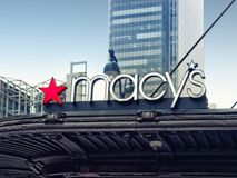 Famous Macy`s sign shopping center in NYC. New York City, USA - April 2018: Famous Macy`s sign shopping center Royalty Free Stock Images