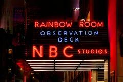 NBC Studios neon at night in Manhattan. New York City, USA - April 2018: NBC Studios neon at night in Manhattan Stock Photo