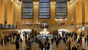 People walking at grand Central Station in Manhattan USA. New York City, USA - April 2018: People walking at Grand Central Station in Manhattan stock video footage