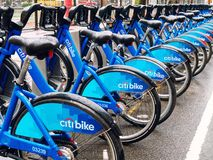 Public bicycles in row in Manhattan New York. New York City, USA - April 2018: Public bicycles in row in Manhattan Stock Image