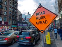 Road Work Ahead Sign in Manhattan New York City. New York City, USA - April 2018: Road Work Ahead Sign in Manhattan Stock Image