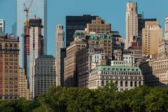 New York City / USA - AUG 22 2018: Lower Manhattan skyscrapers and buildings view from the Statue of Liberty stock photography