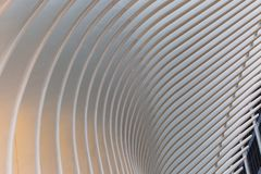 New York City / USA - AUG 22 2018: World Trade Center Transportation Hub`s Oculus exterior detail at sunset stock photo