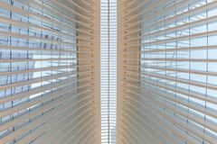 New York City / USA - AUG 22 2018: World Trade Center Transportation Hub`s Oculus interior view at sunset royalty free stock images