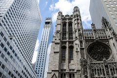 New York City USA Church contrast Skyline Skyscraper Stock Image