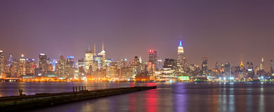 New York City, USA colorful night skyline panorama Royalty Free Stock Image
