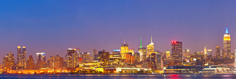 New York City, USA colorful night skyline panorama Royalty Free Stock Photo