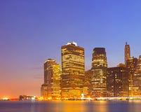 New York City, USA colorful night skyline panorama Stock Photography