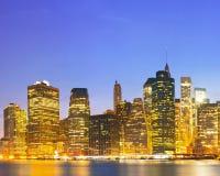 New York City, USA colorful night skyline panorama Stock Images