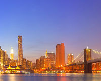 New York City, USA colorful night skyline panorama Stock Image