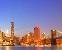 New York City, USA colorful night skyline panorama Stock Image