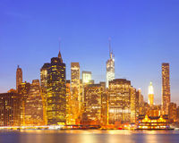 New York City, USA colorful night skyline panorama Stock Photo