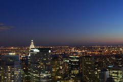 New York City, USA , December 14, 2014: New York City and the Empire State Building view from Rockefeller Center stock image
