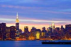 New York City, USA. Downtown buildings in Manhattan Stock Photos