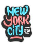 New York City USA grafitti påverkade etiketttecknet Logo Hand Drawn Lettering för t-skjorta eller klistermärke på en vit backgrou stock illustrationer