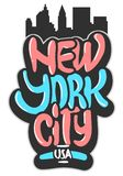New York City USA grafitti påverkade etiketttecknet Logo Hand Drawn Lettering för t-skjorta eller klistermärke på en vit backgrou royaltyfri illustrationer