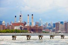 New York City USA, industriell fabriksväxt i staden Royaltyfria Foton