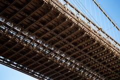 New York, City / USA - JUL 10 2018: Brooklyn Bridge close up vie stock photography