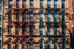 New York City / USA - JUL 31 2018: Close up of apartment buildings in Chinatown in Lower Manhattan royalty free stock image