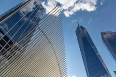 New York City / USA - JUL 18 2018: Financial District one world. Trade buildings facade and oculus in Lower Manhattan royalty free stock photos