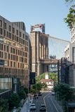New York, City / USA - JUL 10 2018: 1 Hotel and Brooklyn Bridge royalty free stock images