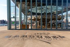 New York, City / USA - JUL 10 2018: Jane`s Carousel at clear day stock photo