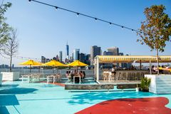 New York City / USA - JUL 14 2018: Oyster bar of Governors Island on a clear friday afternoon stock photos