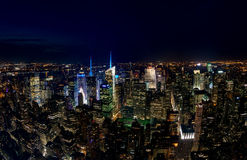 New York City, USA - July 19: Aerial view of Manhattan at night Stock Photography
