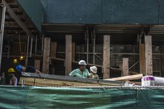 Construction workers on a street in New York City, USA stock photo