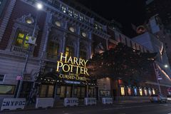 Lyric Theatre at night in New York City, USA. New York City, USA - July 30, 2018: Lyric Theatre where they do the play Harry Potter and the Cursed Child next to stock image