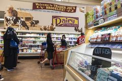 Interior of a Brooklyn supermarket in New York City, USA royalty free stock images