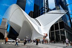 World Trade Center Transportation Hub or Oculus in New York. New York City, USA - June 20, 2018: Outdoor view of World Trade Center Transportation Hub or Oculus royalty free stock photo