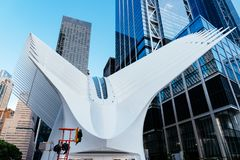 World Trade Center Transportation Hub or Oculus in New York. New York City, USA - June 20, 2018: Outdoor view of World Trade Center Transportation Hub or Oculus stock photos