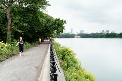 People running by Central Park in New York royalty free stock photos
