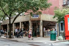Picturesque Mexican restaurant in Greenwich Village in NYC. New York City, USA - June 22, 2018: Picturesque Mexican restaurant in Bleecker Street in Greenwich stock photo