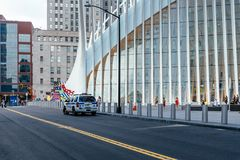 Police car parked in front of World Trade Center Transportation stock images