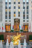 Prometheus Statue on Rockefeller Center in New York City. NEW YORK CITY, USA - JUNE 21, 2016: Prometheus Statue on Rockefeller Center in New York City Stock Photos