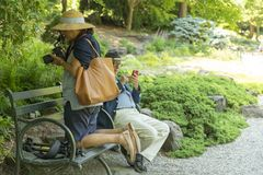 NEW YORK CITY, USA - 26 JUNE 2018: Senior adult man texting and woman taking a photo with dslr camera stock image