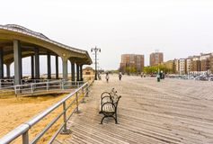 New York City USA - Maj 02, 2016: Coney Island strandpromenad, Brighton strand, Brooklyn, USA Royaltyfri Bild
