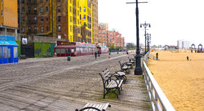 New York City USA - Maj 02, 2016: Coney Island strandpromenad, Brighton strand, Brooklyn, USA Royaltyfri Foto
