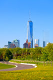 New York City USA. Manhattan business district skyline seen from the park Stock Photos