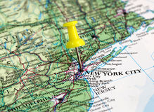 New York City in USA. Map with pin point of New York City in USA stock photos