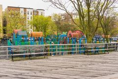 New York City, Usa - May 02, 2016: Coney Island boardwalk, Brighton beach, Brooklyn, USA. New York City, United States of America - May 02, 2016: The playground Stock Photography