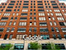 Google headquarter Building sign logo in Manhattan New York City. New York City, USA - May 2018: Google headquarter Building sign logo in Manhattan royalty free stock photos