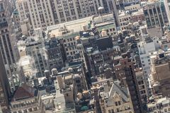 New York City, Midtown Manhattan building rooftops. USA. Royalty Free Stock Images
