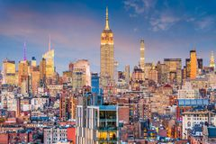 New York City Skyline. New York City, USA midtown Manhattan skyline at dusk stock photos